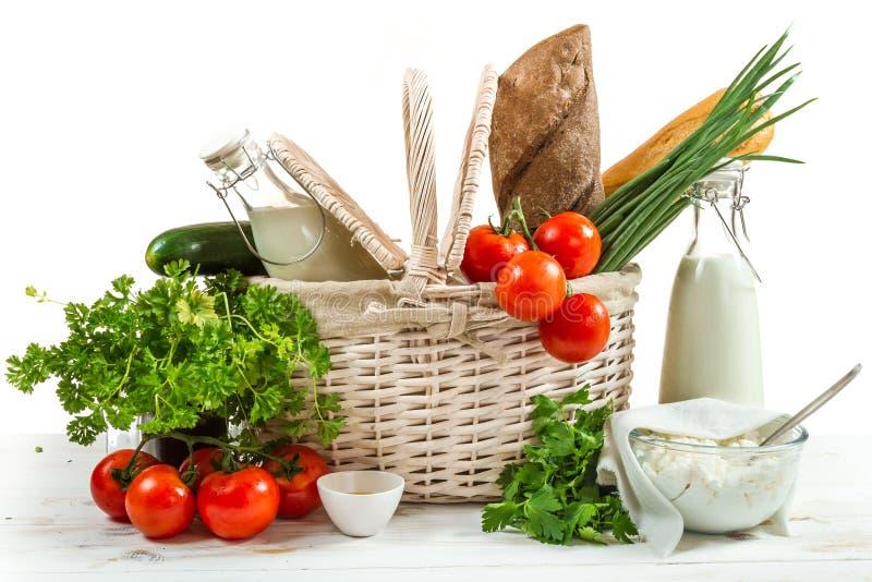 Mandhoogtepunt van gezonde producten stock foto