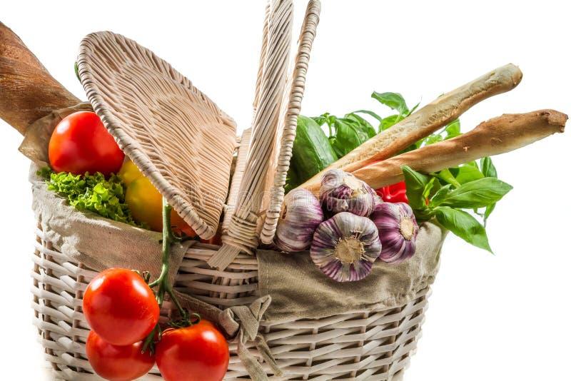 Mandhoogtepunt van verse groenten stock afbeelding