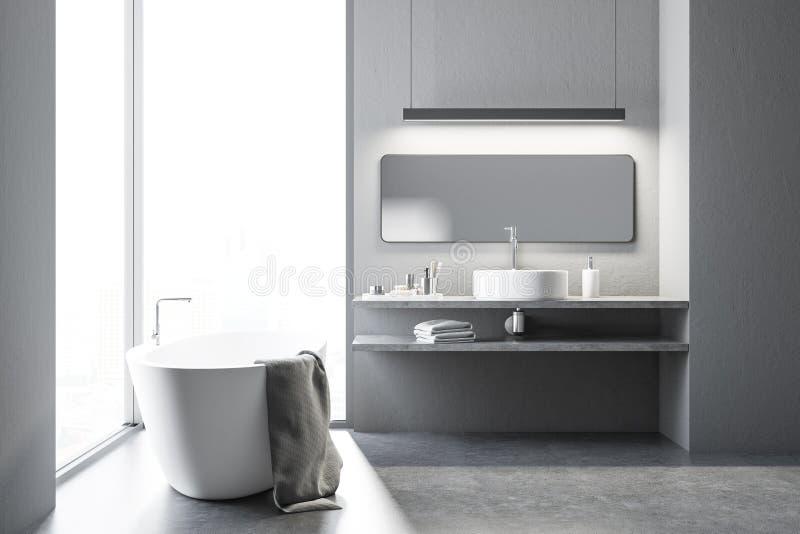 Mandi in aria il bagno bianco con una vasca e un lavandino royalty illustrazione gratis