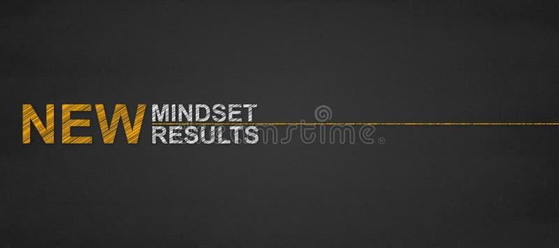 Mandi un sms ai nuovi risultati di nuovo mindset su una lavagna successo e persona immagini stock libere da diritti