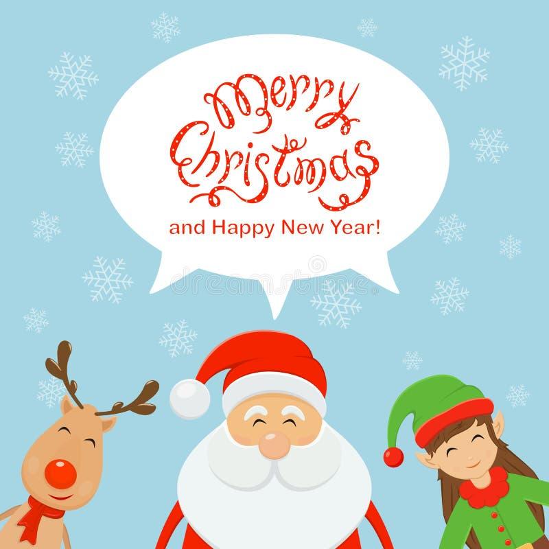 Mandi un sms al Buon Natale nel fumetto ed in Santa con l'elfo e il rei illustrazione di stock