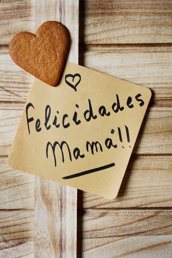Mandi un sms alla mamma dei felicidades, mamma dei congrats nello Spagnolo fotografia stock libera da diritti