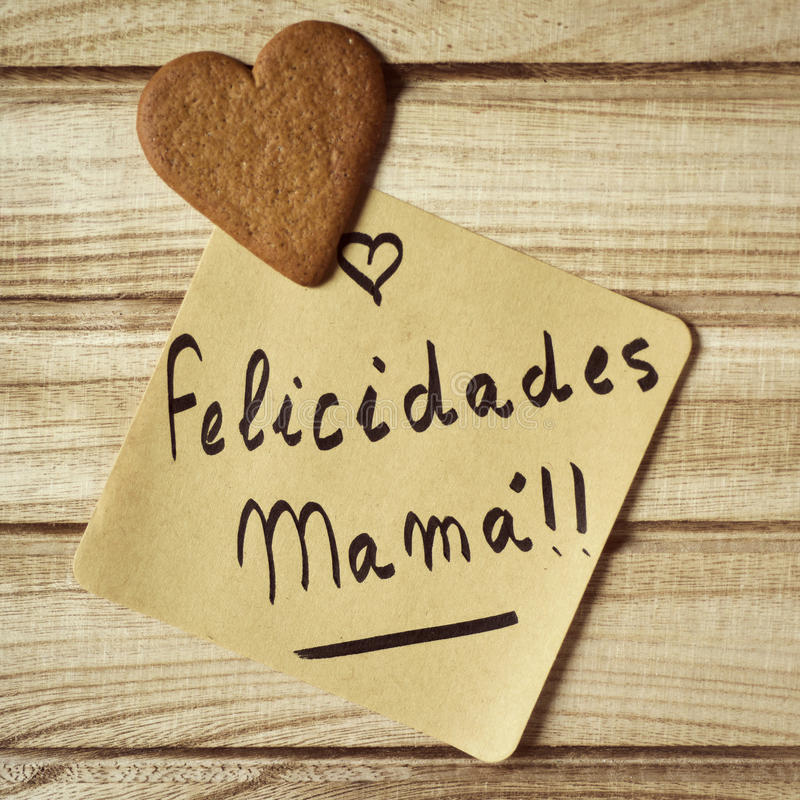 Mandi un sms alla mamma dei felicidades, mamma dei congrats nello Spagnolo fotografia stock