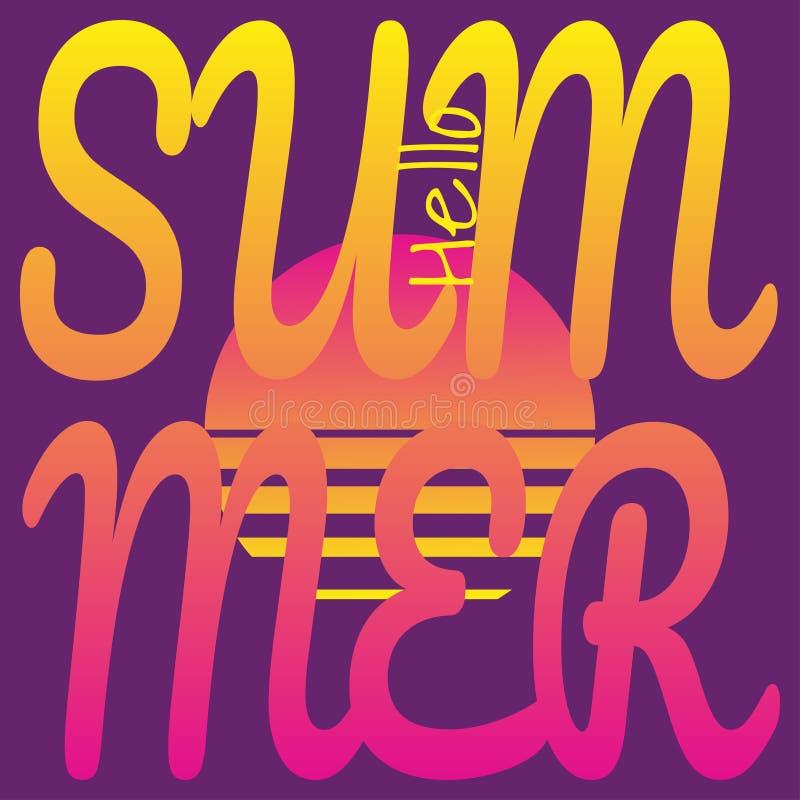 Mandi un sms ciao all'estate su fondo del sole del tramonto Vettore che assorbe stile retro-futuristico, tavolozza di colore al n illustrazione di stock