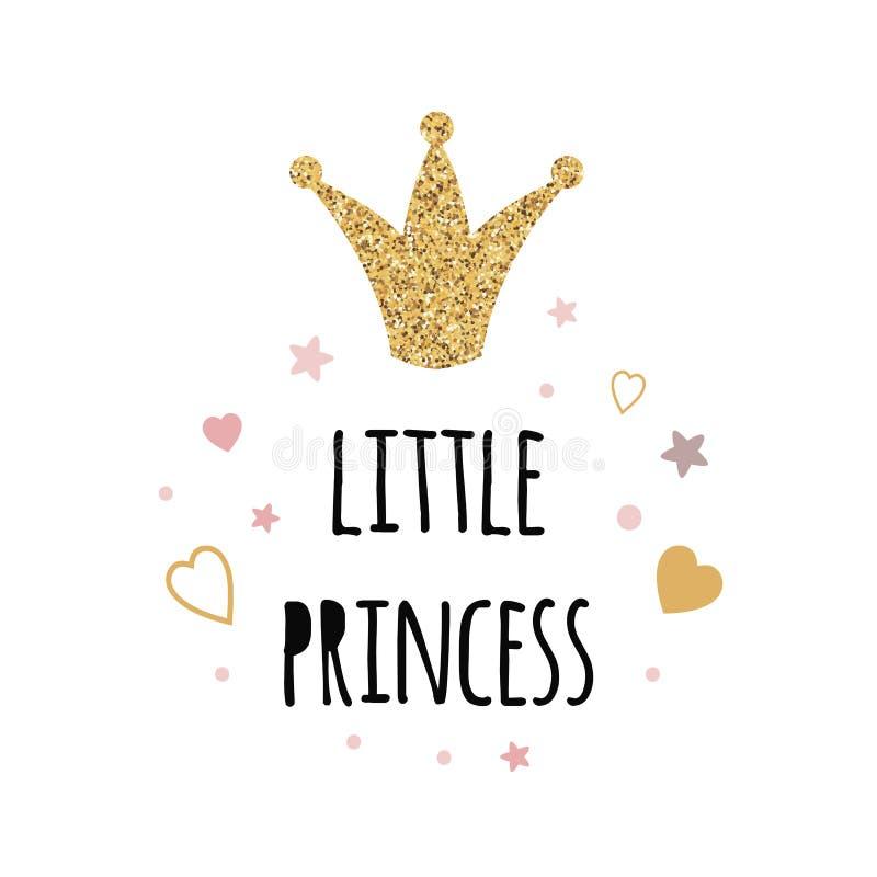 Mandi un sms a poca principessa con la stampa glottering di vettore della decorazione del cuore delle stelle di rosa della corona illustrazione vettoriale