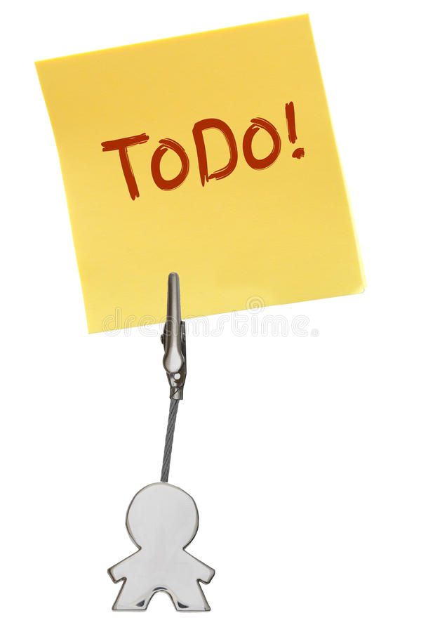 Mandiagram affärskorthållare med gulingpappersanmärkningen ToDo arkivfoto