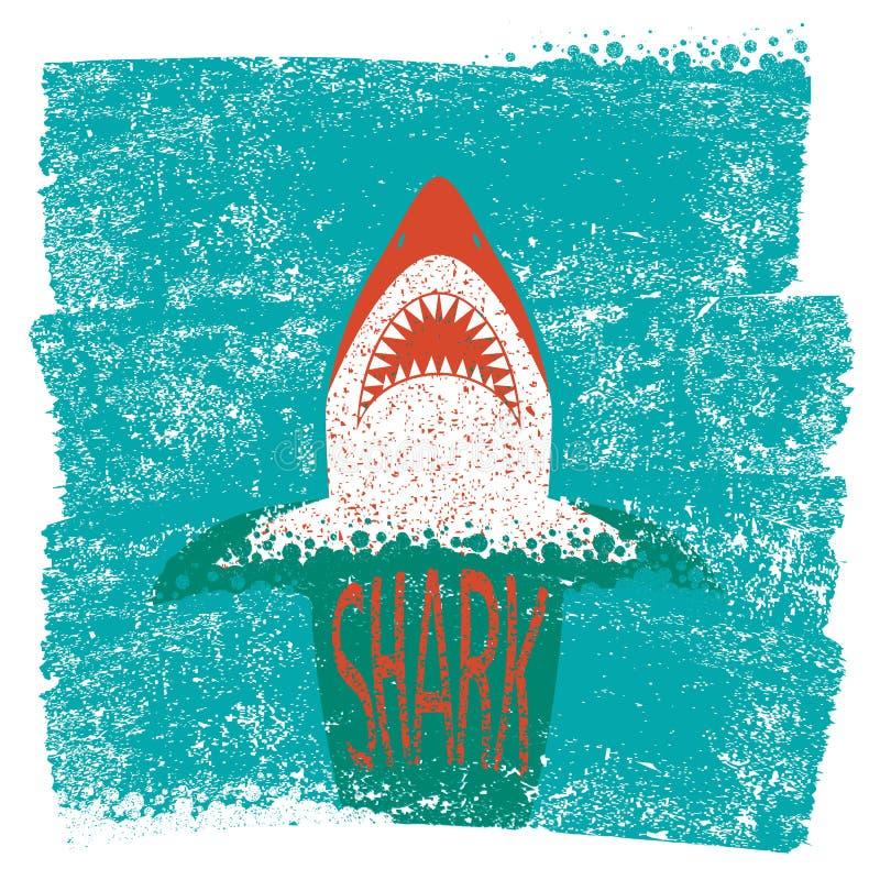 Mandibole dello squalo Il mare blu di vettore ondeggia il fondo illustrazione di stock
