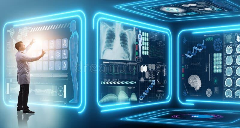 Mandoktorn i futuristiskt medicinläkarundersökningbegrepp royaltyfri fotografi