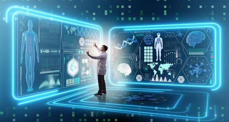 Mandoktorn i futuristiskt medicinläkarundersökningbegrepp royaltyfri foto