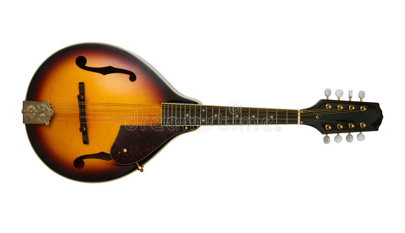 Mandolin. On white background with clipping path stock images