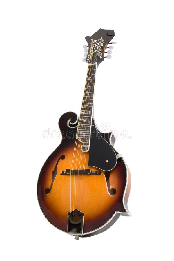 Mandolin. A Bluegrass Mandolin isolated on white background stock photos