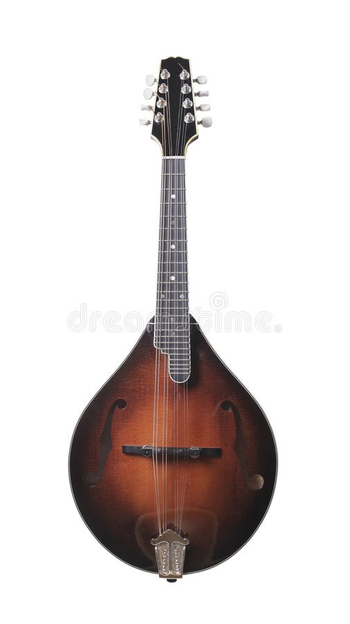 Mandolin. Musical string instrument isolated on white stock photography