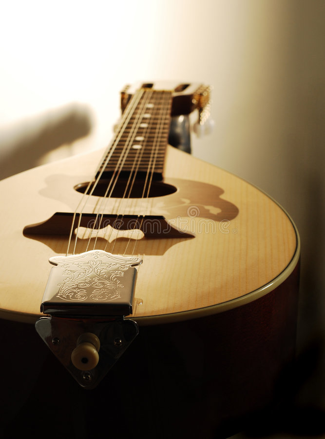 Mandolin closeup. With its shadow on the wall stock images