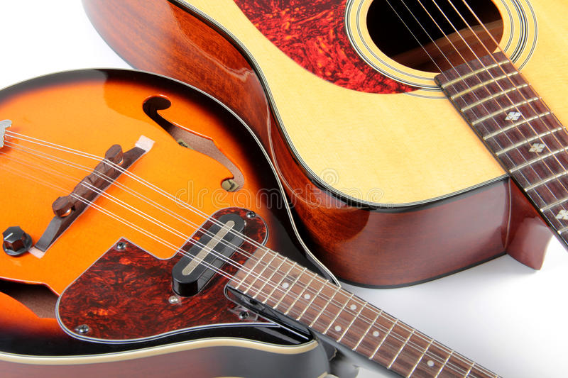 Mandolin and guitar. Color photo of a mandolin and guitar in country style stock image