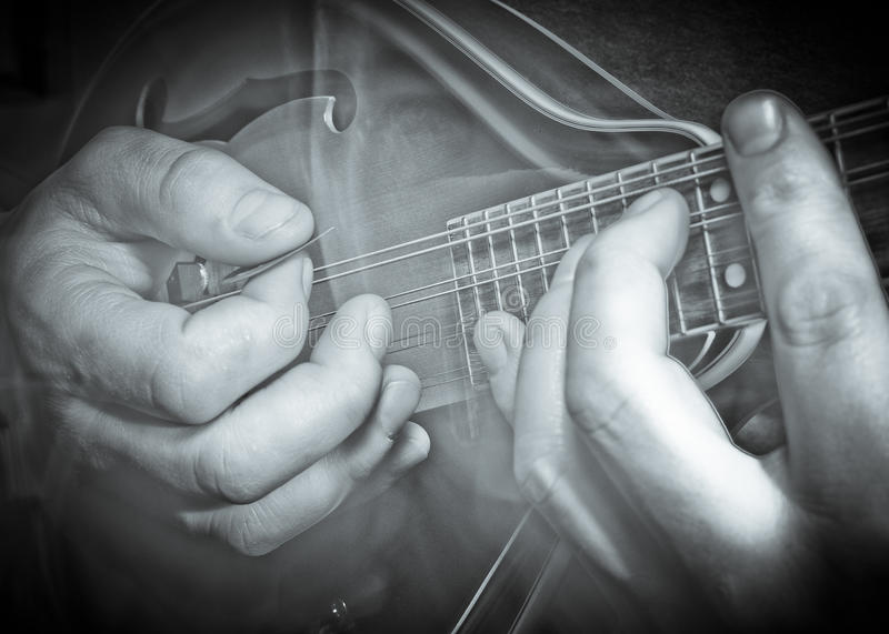 Mandolin hands. Close up of a mans hands , playing the mandolin stock images