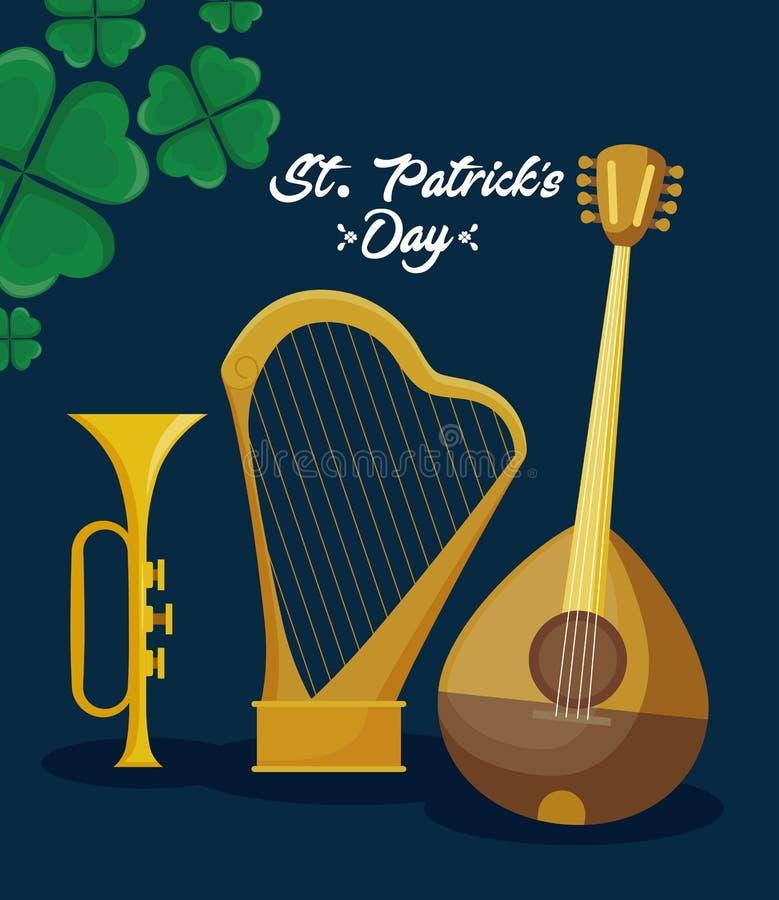 Mandolin with harp and trump of st patrick day. Vector illustration design royalty free illustration