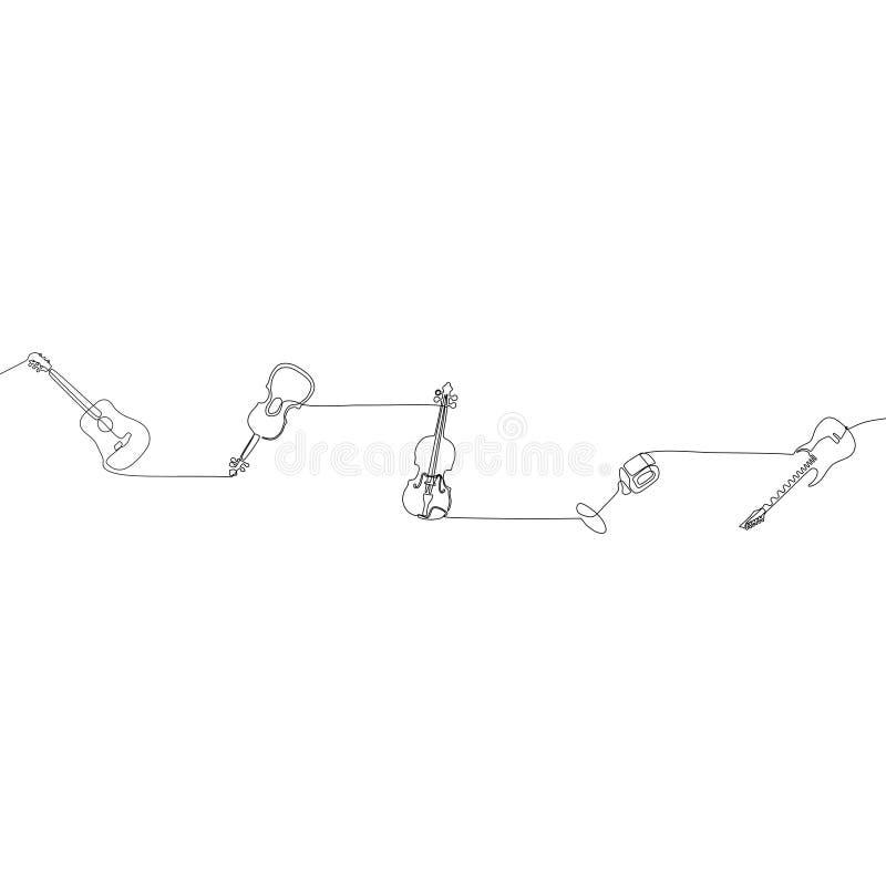 Mandoline ununterbrochene Linie Entwurf des kleinen Stoß-Musikinstrument-Konzeptes Federzeichnung der einzelnen Zeile der mic-Kla lizenzfreie abbildung