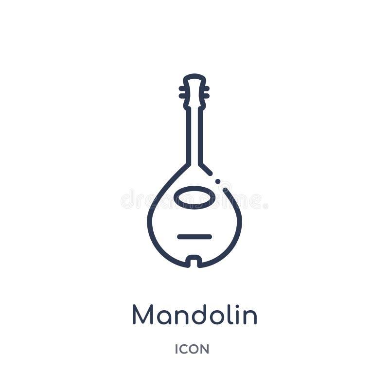 Mandolinowa ikona od muzycznej kontur kolekcji Cienieje kreskową mandolinową ikonę odizolowywającą na białym tle royalty ilustracja