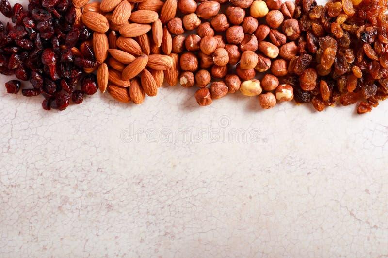 Mandorla matta e nocciola, mirtillo rosso ed uva passa fotografia stock libera da diritti