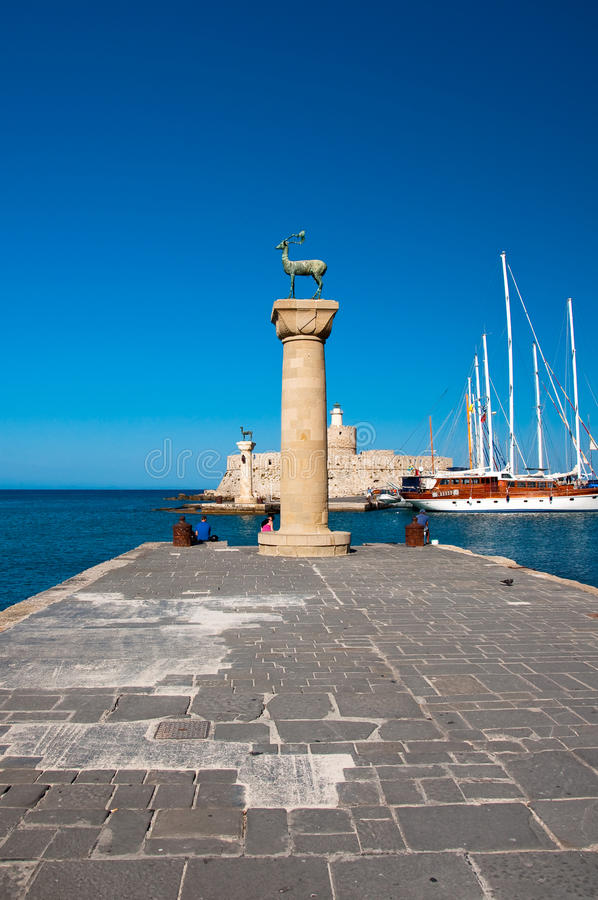 Mandraki Harbor And Bronze Deer Statues, Greece Royalty Free Stock Photography
