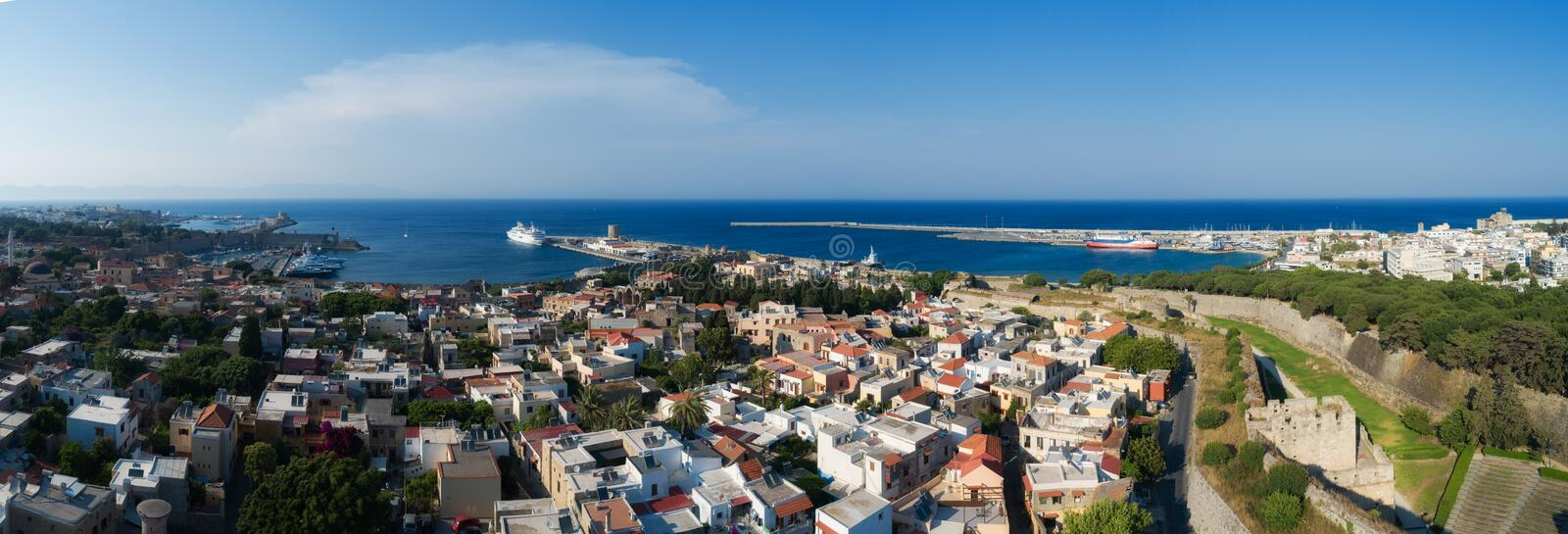 Mandraki port of Rhodes city harbor aerial panoramic view in Rhodes island in Greece. Drone shot royalty free stock images