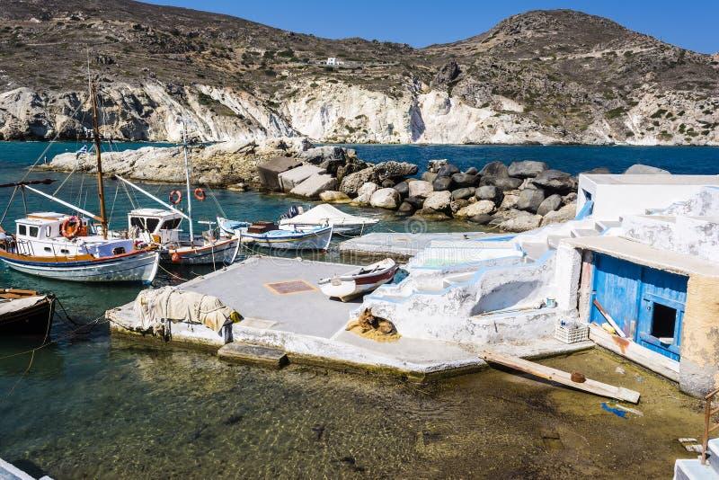 Mandrakia traditioneel Grieks dorp stock afbeeldingen