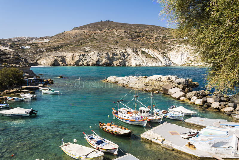 Mandrakia traditioneel Grieks dorp royalty-vrije stock afbeeldingen