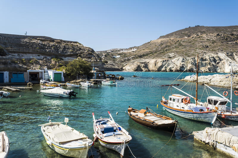 Mandrakia traditioneel Grieks dorp royalty-vrije stock foto