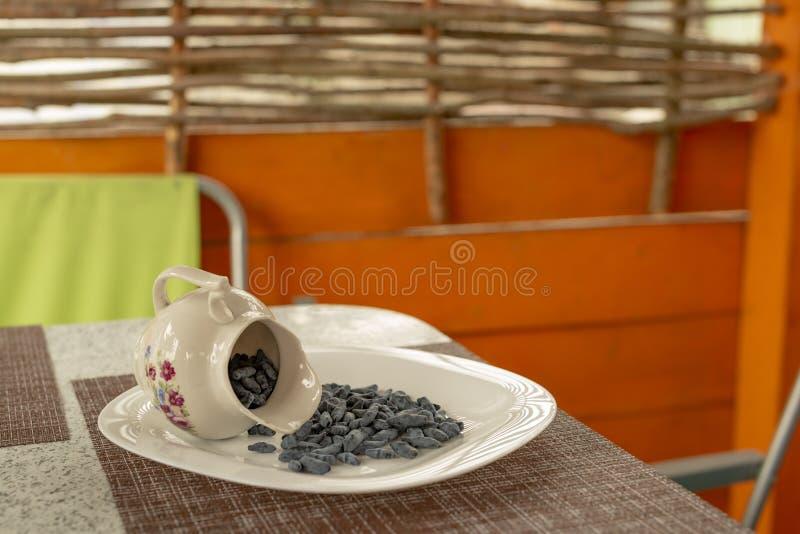 Mandril do ver?o O café da manhã da luz de Utrenny das bagas Uma madressilva com um morango silvestre e um creme de leite imagens de stock royalty free