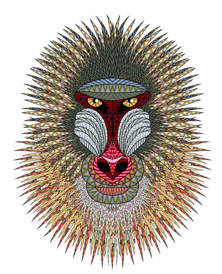 mandrill vektor illustrationer