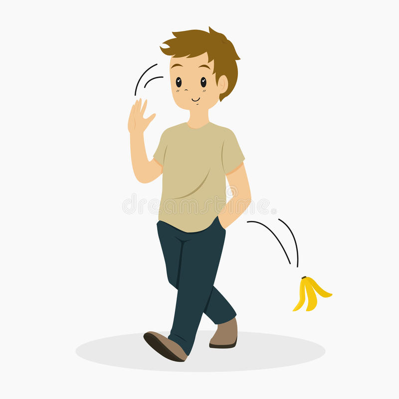 Mandugg en bananPeelvektor stock illustrationer