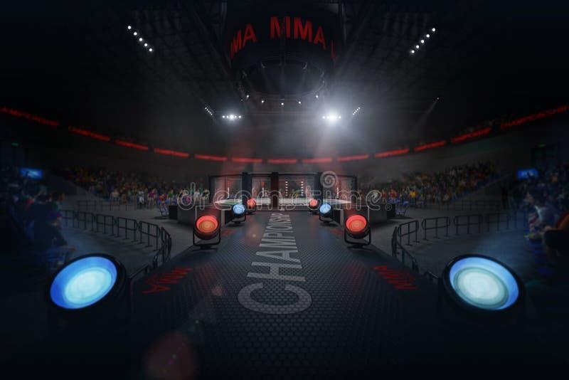 Maneira à arena do Muttahida Majlis-E-Amal no estádio aglomerado sob luzes fotos de stock royalty free