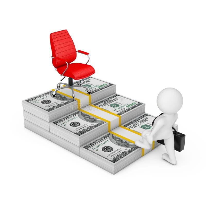 Maneira ao conceito do sucesso Homem de negócios Climbs as escadas do dinheiro dos dólares ao chefe grande vermelho Chair da carr ilustração royalty free