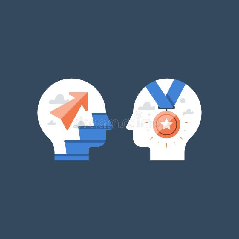 Maneira ao sucesso, à melhoria rápida, ao incentivo e à motivação, desenvolvimento potencial, mindset do crescimento, treinamento ilustração royalty free