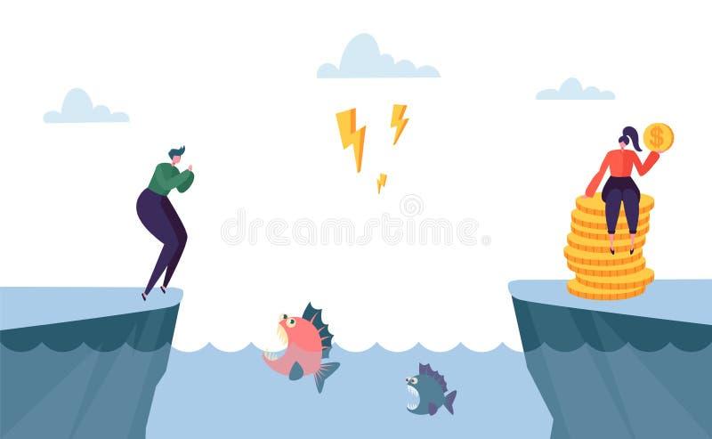 Maneira complicada perigosa ao lucro do dinheiro Salto do caráter da mulher sobre o mar completamente de peixes irritados Maneira ilustração do vetor