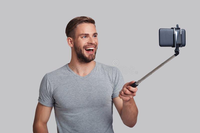 Maneira conveniente de tomar o selfie imagens de stock