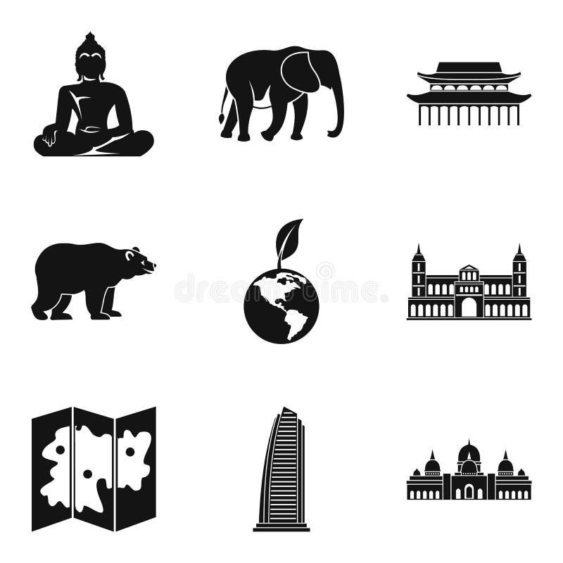 A maneira de ícones da viagem ajustou-se, estilo simples ilustração stock