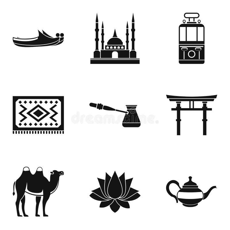 A maneira de ícones do curso ajustou-se, estilo simples ilustração royalty free