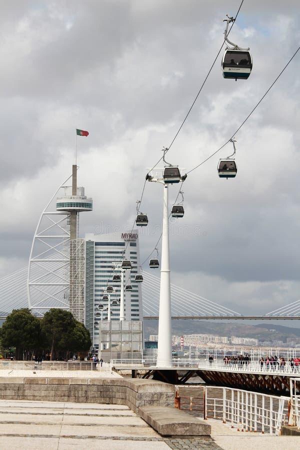 A maneira de cabo e a ponte de Vasco Da Gama nas nações estacionam em Lisboa, Portugal imagem de stock