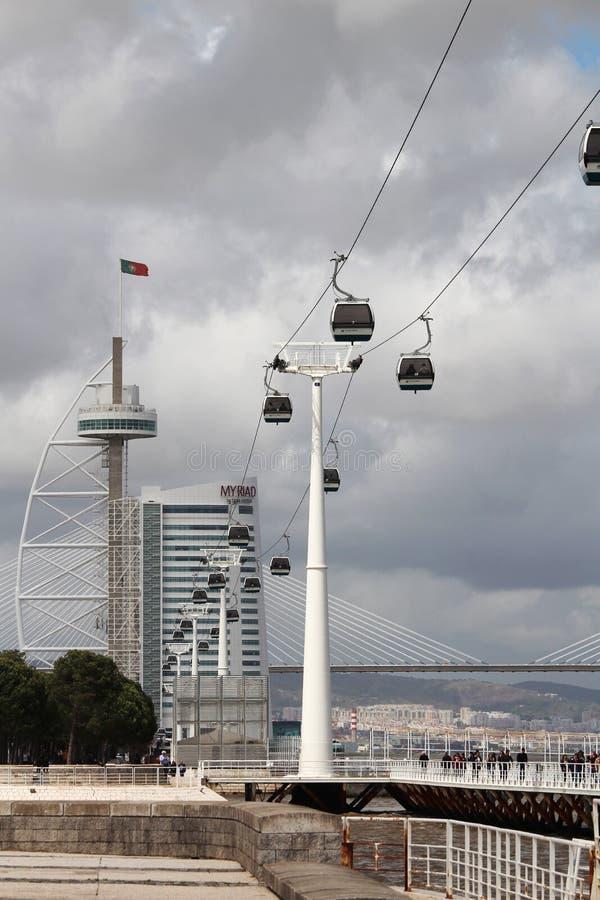 A maneira de cabo e a ponte de Vasco Da Gama nas nações estacionam em Lisboa, Portugal fotos de stock