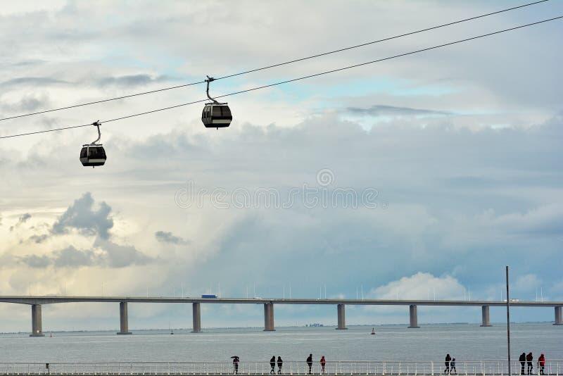 Maneira de passeio no beira-rio de Tagus com a estrada de ferro do teleférico em Parque DAS Nacoes fotografia de stock