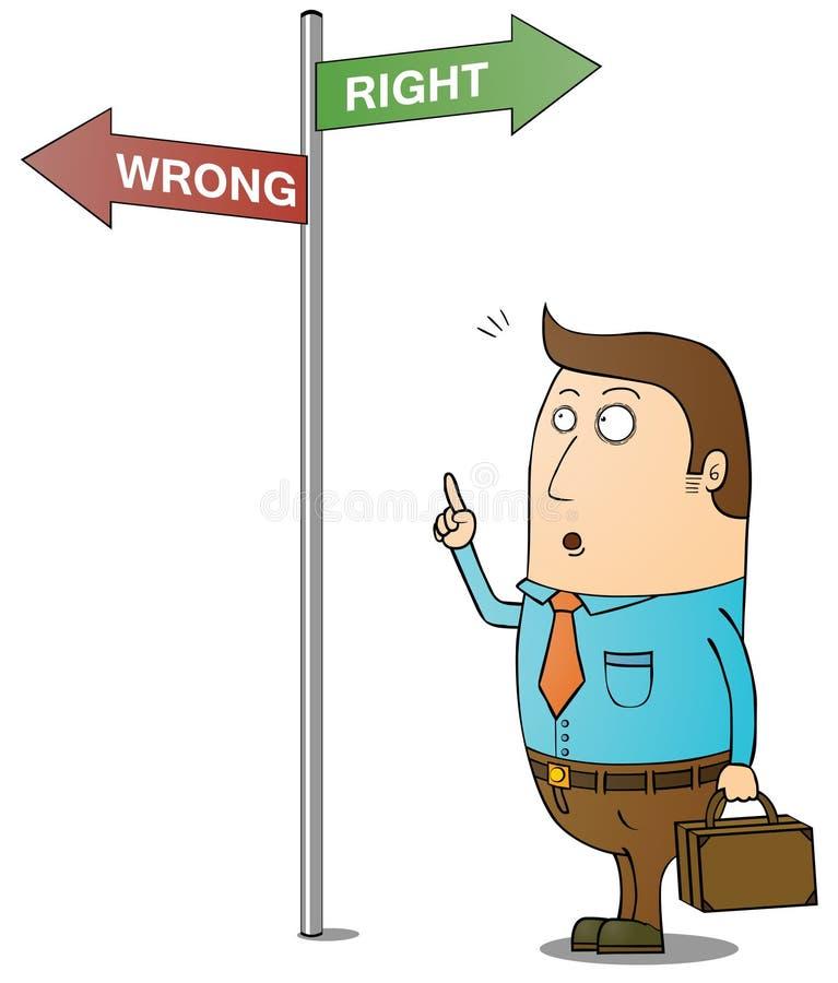 Maneira direita e errada ilustração royalty free