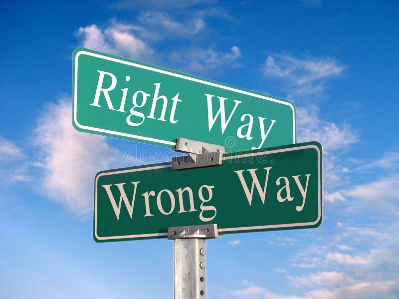 A maneira direita ou maneira errada imagens de stock royalty free