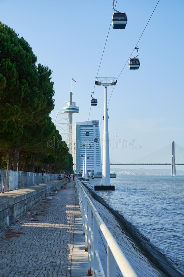 A maneira do teleférico do Oceanarium ao Torre de Vasco a Dinamarca G foto de stock