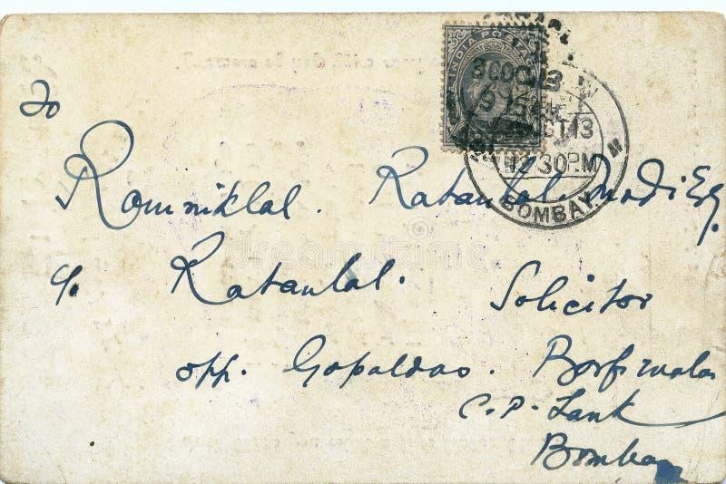 Maneira indiana do cartão do raj 1913 de Ingleses do vintage de uma comunicação para Kalyan público imagem de stock