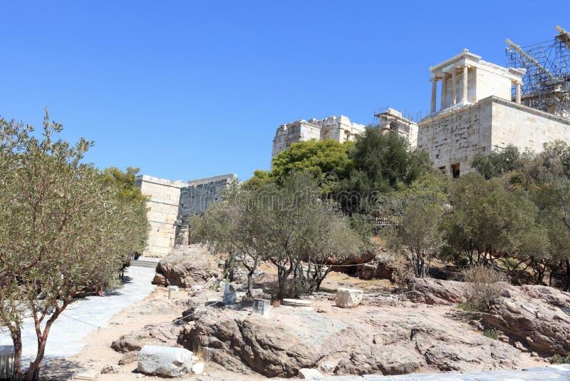 Maneira a Propylaea da acrópole ateniense fotos de stock royalty free