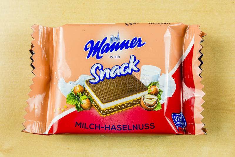 Maneira Wien do petisco - sanduíche leitoso doce da avelã do waffle fotos de stock royalty free