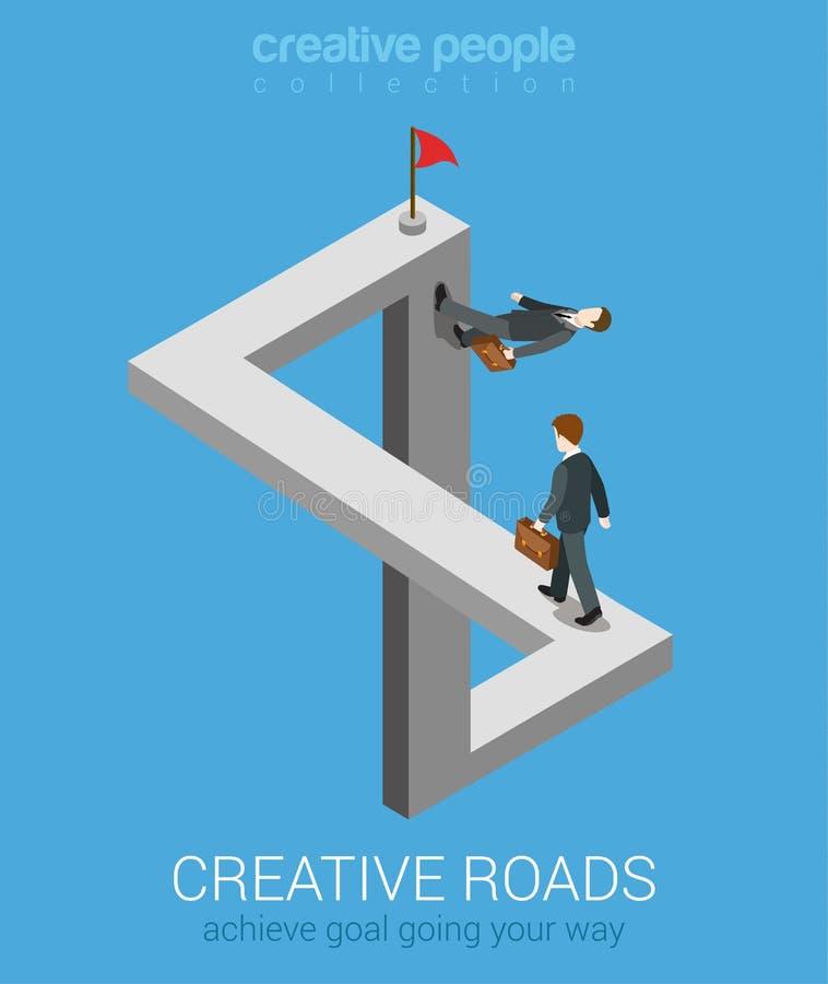 Maneiras criativas de conseguir o conceito infographic isométrico do negócio da Web 3d lisa do objetivo ilustração do vetor