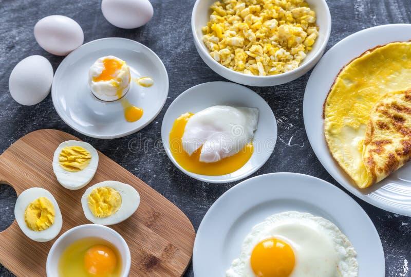 Maneiras diferentes de cozinhar ovos foto de stock