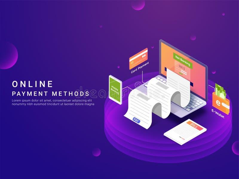 Maneiras do pagamento ou conceito isométrico, em linha da opção Payme do Internet ilustração do vetor